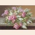 """Схема для вышивания лентами GAMMA """"Розовые розы и сирень"""""""