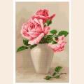 """Набор для вышивания крестом Luca-S """"Розовые розы в вазе"""""""
