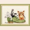 """Набор для вышивания крестом Золотое Руно """"Котята в ботинке"""""""
