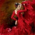 Алмазная вышивка квадратными камнями ГРАННИ «Танцовщица в красном»
