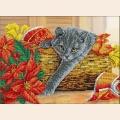 """Набор для вышивания бисером ПАУТИНКА """"Рождественский котик"""""""