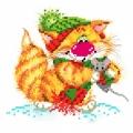 """Набор для вышивания бисером МАТРЕНИН ПОСАД 24х26 """"Без кота-жизнь не та! Вместе теплее"""""""
