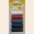 Kleiber Набор швейных ниток № 60, 100% полиэстер, 5шт (белый, красный, серый, синий, черный) по 120м в упаковке