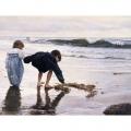 Алмазная вышивка квадратными камнями ГРАННИ «Дети у моря»