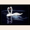 Алмазная вышивка квадратными камнями ГРАННИ «Влюбленные лебеди на пруду»