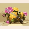 """Набор для вышивания нитками GOBLENSET """"Розы в фарфоровой вазе"""""""