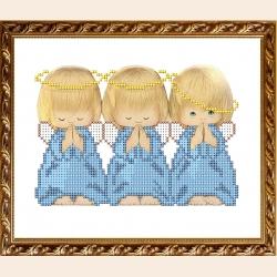 """Рисунок на ткани для вышивания бисером """"Три ангелочка"""""""