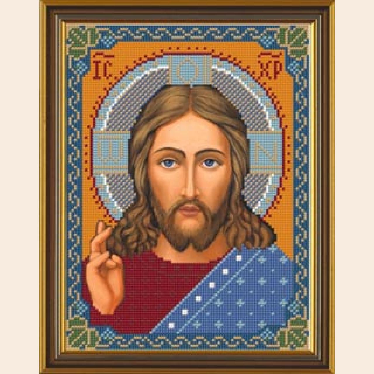 Вышивка бисером схема иконы на канве Христос Спаситель.