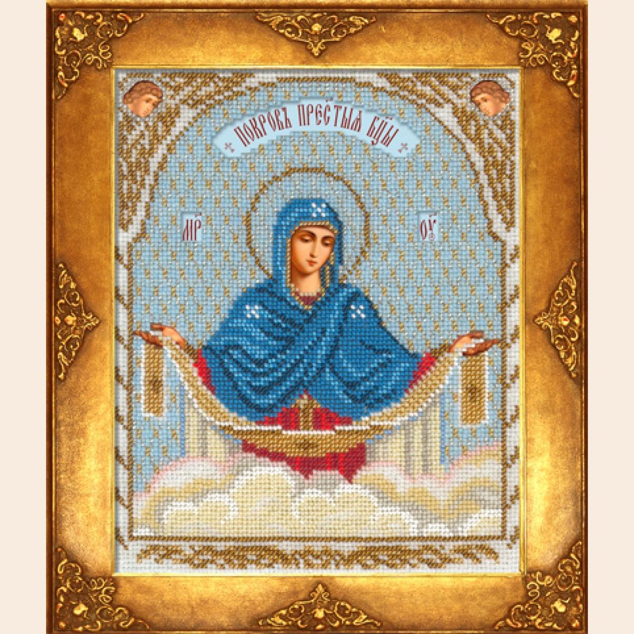 Покров Пресвятой Богородицы - Иконы вышитые бисером